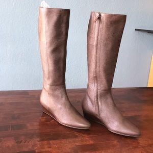 Cole Haan 6B Brown Pointed Toe Wedge Heel Boots